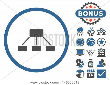 Hierarchy icon with bonus. Vector illustration style is flat iconic bicolor symbols, cobalt and gray colors, white background.