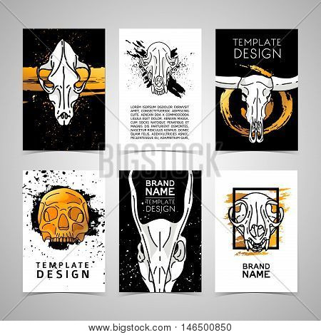 Set of trendy cards with animal skulls decor. Invitations, postcards chelvoecheskim and animal skulls. Vector cards, flyers, brochures with grunge texture, golden color and white skulls. Vector
