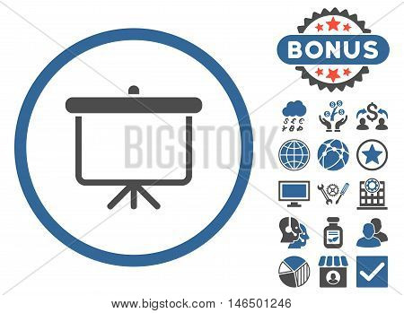 Projection Board icon with bonus. Vector illustration style is flat iconic bicolor symbols, cobalt and gray colors, white background.