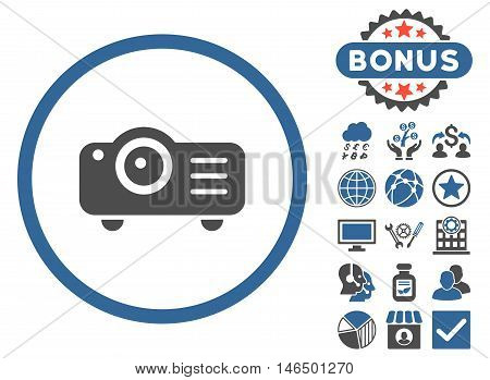 Projector icon with bonus. Vector illustration style is flat iconic bicolor symbols, cobalt and gray colors, white background.