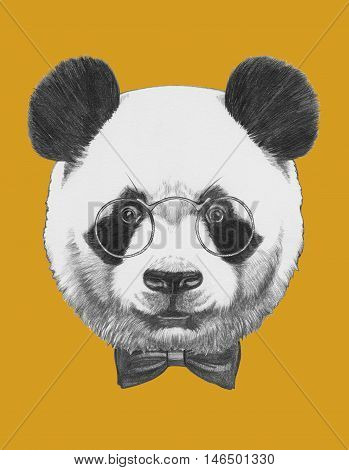 Original drawing of Panda with glasses and bow tie.