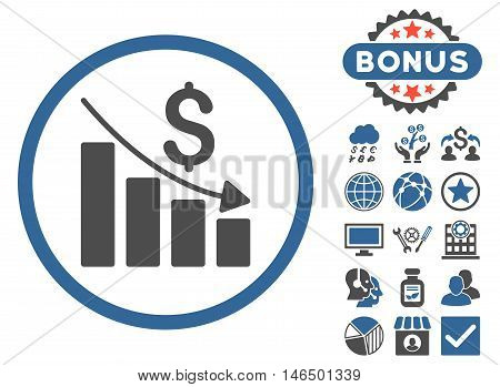 Recession Chart icon with bonus. Vector illustration style is flat iconic bicolor symbols, cobalt and gray colors, white background.