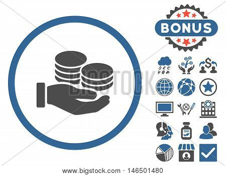 Salary Coins icon with bonus. Vector illustration style is flat iconic bicolor symbols, cobalt and gray colors, white background.
