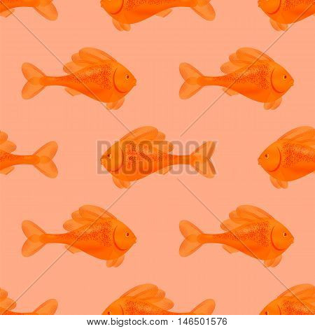 Fresh Fish Isolated on Pink Background. Seamless Orange Fish Pattern