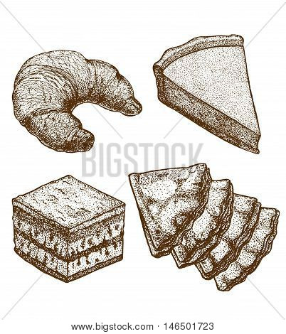 vector hand-drawn set of croissant cake pastry and creeps