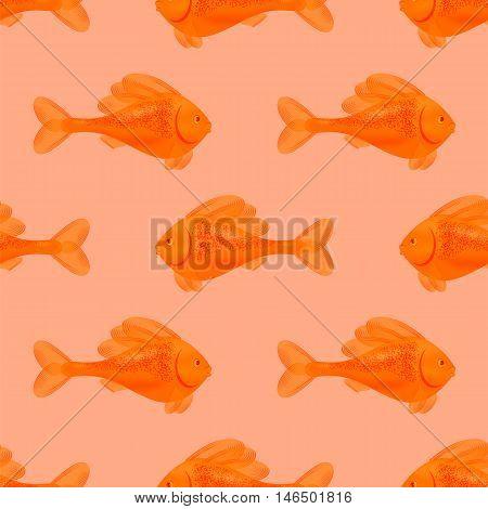 Fresh Fish Isolated on Pink Background. Seamless Orange Fish Pattern