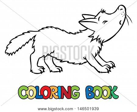 Coloring book or coloring picture of lttle funny howling wolf. Children vector illustration