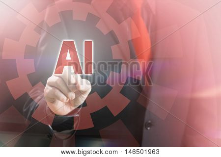 Businessman Pointing AI Characters in a Concept Image