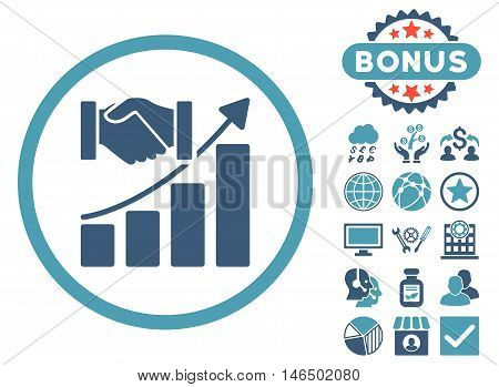 Acquisition Growth icon with bonus. Vector illustration style is flat iconic bicolor symbols, cyan and blue colors, white background.