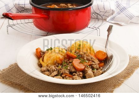 mince and tatties with carrot and parsley a traditional scottish dish