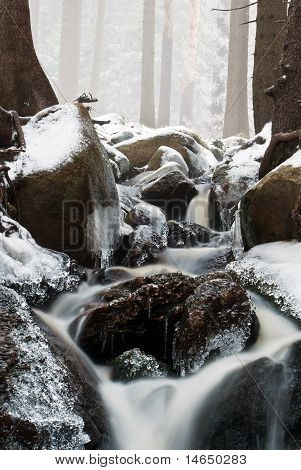 Stream Running Through The Winter Landscape