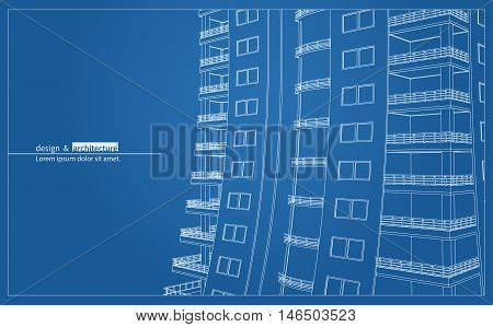 Urbanistic skyscraper. Abstract 3D render of building wire frame structure. Vector construction graphic idea for template design.Modern Building.Perspective city view, wide angle.