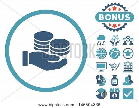 Salary Coins icon with bonus. Vector illustration style is flat iconic bicolor symbols, cyan and blue colors, white background.