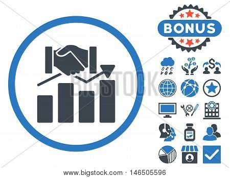 Acquisition Graph icon with bonus. Vector illustration style is flat iconic bicolor symbols, smooth blue colors, white background.