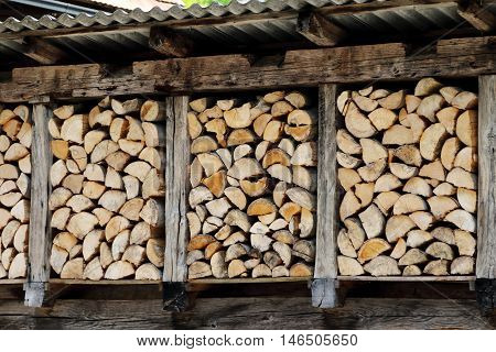 chopped firewood stacked up nicely in a storage