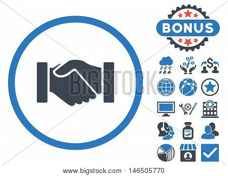 Acquisition Handshake icon with bonus. Vector illustration style is flat iconic bicolor symbols, smooth blue colors, white background.