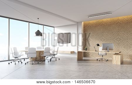 Office Interior With Decorative Panel