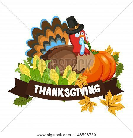Vector Happy Thanksgiving celebration design. Holiday fall autumn seasonal celebration thanksgiving harvest banner. decoration, leaf thanksgiving harvest celebration logo. Traditional november dinner.