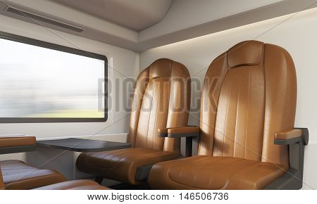 Two Brown Armchairs In Train Compartment