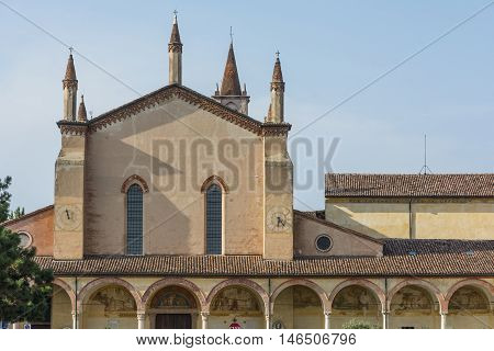 GRAZIA,ITALY-JULY 4,2015:View of the sanctuary of the Blessed Virgin of Graces in the small village of Grazie near the river Mincio.