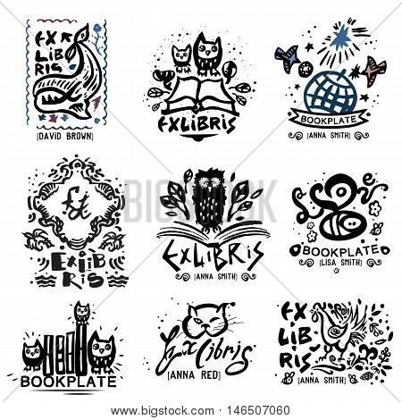 Bookplate, hand illustration. Book graphics sign, symbol, and stamp