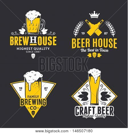 Set of vector white and yellow vintage beer logo icons and design elements isolated on black background for beer house bar pub brewing company branding and identity.