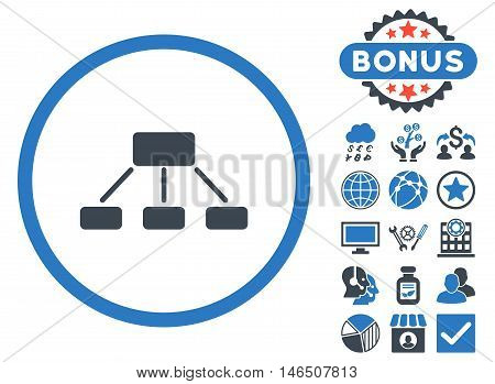 Hierarchy icon with bonus. Vector illustration style is flat iconic bicolor symbols, smooth blue colors, white background.