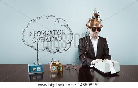 Cloud information overload text with vintage businessman and calculator at office
