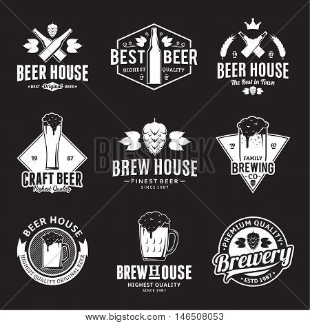 Set of vector white beer logo icons and design elements on black background for beer house bar pub brewing company branding and identity.