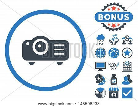 Projector icon with bonus. Vector illustration style is flat iconic bicolor symbols, smooth blue colors, white background.