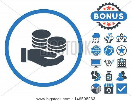 Salary Coins icon with bonus. Vector illustration style is flat iconic bicolor symbols, smooth blue colors, white background.