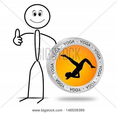 Stickman with Yoga button - 3D illustration
