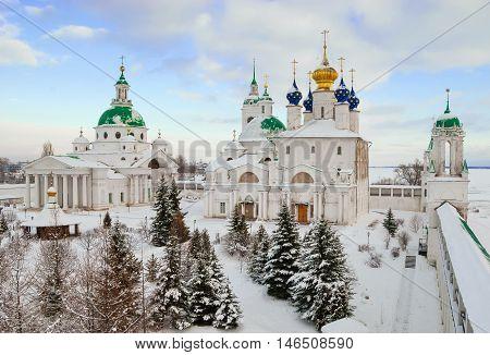 Monastery on the shore of Lake Nero in Rostov Veliky in winter