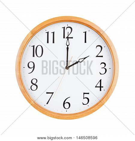Exactly two o'clock on the large round clock