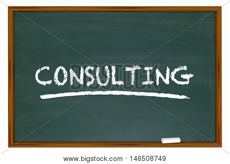 Consulting Chalk Board Word Consultant Training 3d Illustration