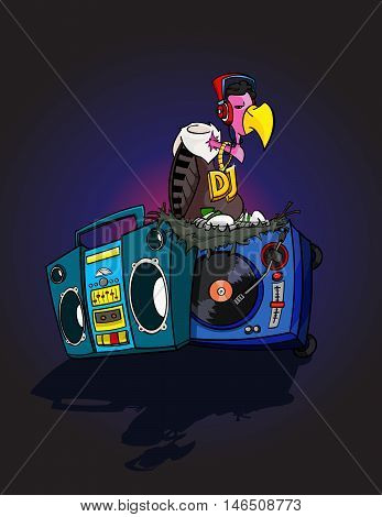 Hand Drawn DJ Vulture disco cartoon style with Boom-box and Turntable - stock vector