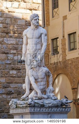 Florence, Italy, June, 25, 2016: statue of Hercules and Persimmon in Florence, Italy