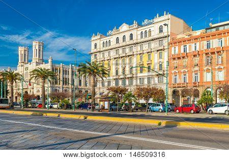 Cagliari, Sardinia - January 2 of 2016, Italy: View of the main street (Via Roma),Town Hall and