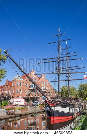 PAPENBURG, GERMANY - AUGUST 25, 2016: Historical ship in a canal in Papenburg, Germany