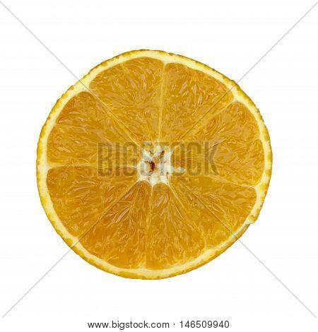 One fresh halved orange on white background