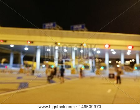 Blurred Tollway Payment Gate Without Cars At Night
