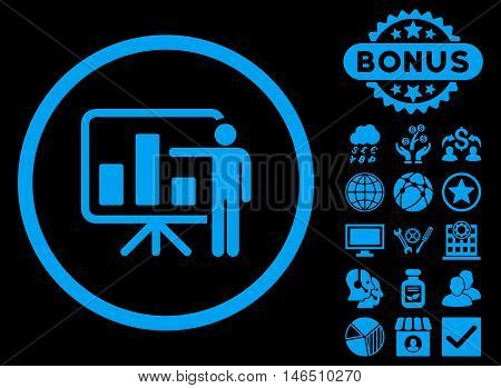 Bar Chart Presentation icon with bonus. Vector illustration style is flat iconic symbols, blue color, black background.