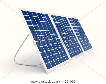 Solar battery over white background. computer generated image