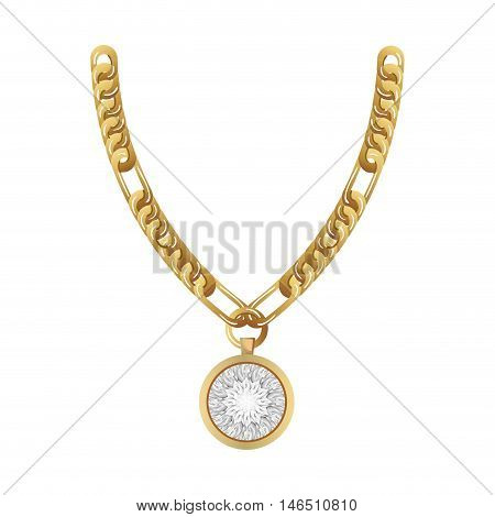 jewelry gold necklace with precious stone. luxury and fashion accessory. vector illustration