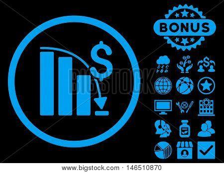 Epic Fail Chart icon with bonus. Vector illustration style is flat iconic symbols, blue color, black background.