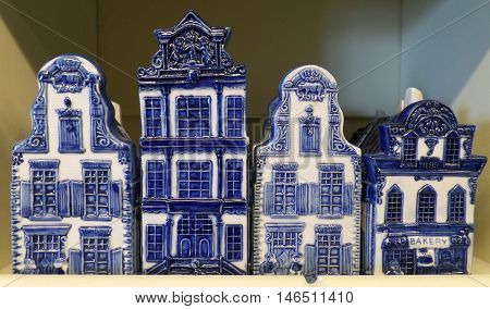 Typical Dutch Architecture in Blue and White Ceramic Objects