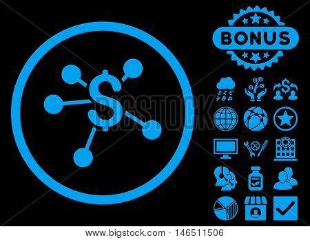 Money Emission icon with bonus. Vector illustration style is flat iconic symbols, blue color, black background.