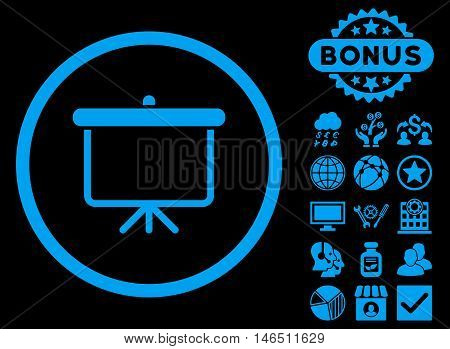 Projection Board icon with bonus. Vector illustration style is flat iconic symbols, blue color, black background.