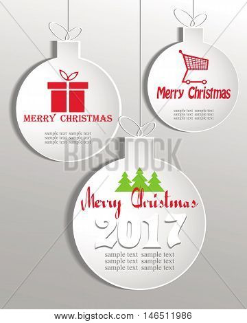 a set of Christmas balls white matte color with a shopping basket, a gift box with text merry Christmas