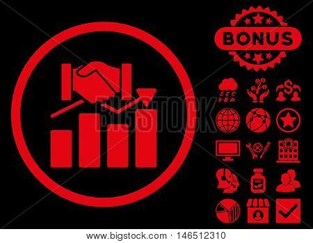 Acquisition Graph icon with bonus. Vector illustration style is flat iconic symbols, red color, black background.